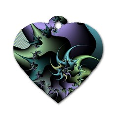 Fractal Image With Sharp Wheels Dog Tag Heart (two Sides)