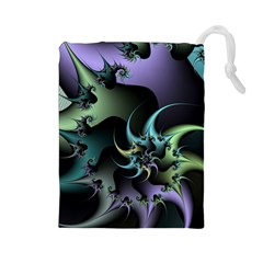Fractal Image With Sharp Wheels Drawstring Pouches (Large)