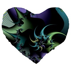 Fractal Image With Sharp Wheels Large 19  Premium Flano Heart Shape Cushions