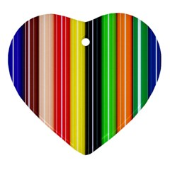 Stripes Colorful Striped Background Wallpaper Pattern Ornament (heart)