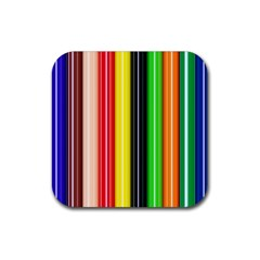 Stripes Colorful Striped Background Wallpaper Pattern Rubber Square Coaster (4 pack)