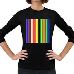 Stripes Colorful Striped Background Wallpaper Pattern Women s Long Sleeve Dark T Shirts