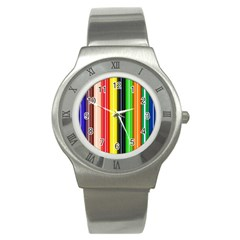 Stripes Colorful Striped Background Wallpaper Pattern Stainless Steel Watch