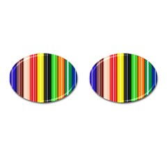 Stripes Colorful Striped Background Wallpaper Pattern Cufflinks (Oval)