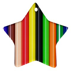 Stripes Colorful Striped Background Wallpaper Pattern Star Ornament (two Sides)