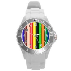 Stripes Colorful Striped Background Wallpaper Pattern Round Plastic Sport Watch (L)