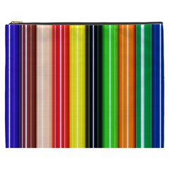 Stripes Colorful Striped Background Wallpaper Pattern Cosmetic Bag (xxxl)