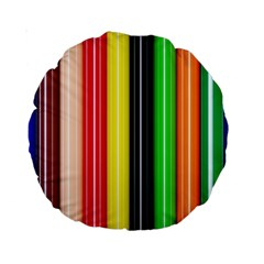 Stripes Colorful Striped Background Wallpaper Pattern Standard 15  Premium Round Cushions
