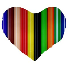 Stripes Colorful Striped Background Wallpaper Pattern Large 19  Premium Heart Shape Cushions