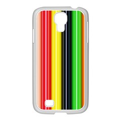 Stripes Colorful Striped Background Wallpaper Pattern Samsung GALAXY S4 I9500/ I9505 Case (White)