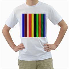 Stripes Colorful Striped Background Wallpaper Pattern Men s T Shirt (white)