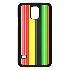 Stripes Colorful Striped Background Wallpaper Pattern Samsung Galaxy S5 Case (Black)