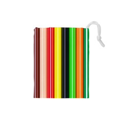 Stripes Colorful Striped Background Wallpaper Pattern Drawstring Pouches (Small)