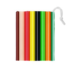 Stripes Colorful Striped Background Wallpaper Pattern Drawstring Pouches (large)