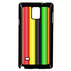 Stripes Colorful Striped Background Wallpaper Pattern Samsung Galaxy Note 4 Case (Black)