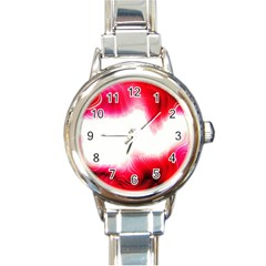 Abstract Pink Page Border Round Italian Charm Watch