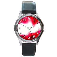 Abstract Pink Page Border Round Metal Watch