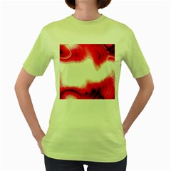 Abstract Pink Page Border Women s Green T Shirt