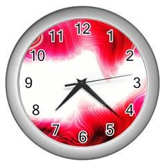 Abstract Pink Page Border Wall Clocks (silver)
