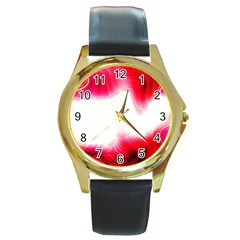Abstract Pink Page Border Round Gold Metal Watch