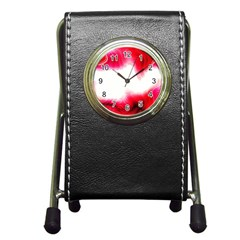 Abstract Pink Page Border Pen Holder Desk Clocks
