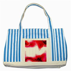 Abstract Pink Page Border Striped Blue Tote Bag
