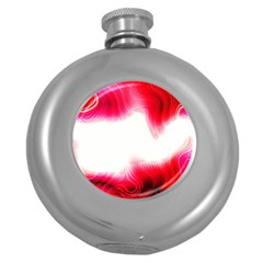 Abstract Pink Page Border Round Hip Flask (5 oz)