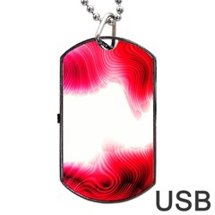 Abstract Pink Page Border Dog Tag USB Flash (One Side)