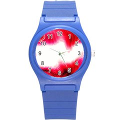 Abstract Pink Page Border Round Plastic Sport Watch (S)