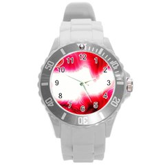 Abstract Pink Page Border Round Plastic Sport Watch (L)