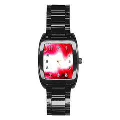Abstract Pink Page Border Stainless Steel Barrel Watch