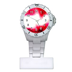 Abstract Pink Page Border Plastic Nurses Watch