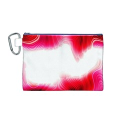 Abstract Pink Page Border Canvas Cosmetic Bag (M)