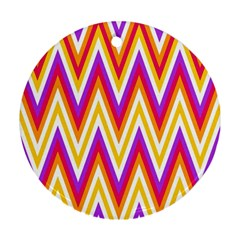 Colorful Chevrons Zigzag Pattern Seamless Ornament (Round)