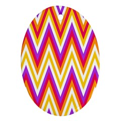Colorful Chevrons Zigzag Pattern Seamless Ornament (oval)