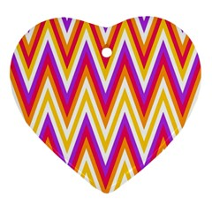 Colorful Chevrons Zigzag Pattern Seamless Ornament (Heart)