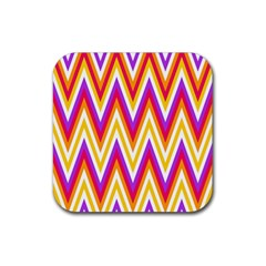 Colorful Chevrons Zigzag Pattern Seamless Rubber Square Coaster (4 Pack)