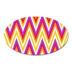 Colorful Chevrons Zigzag Pattern Seamless Oval Magnet