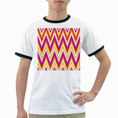 Colorful Chevrons Zigzag Pattern Seamless Ringer T Shirts