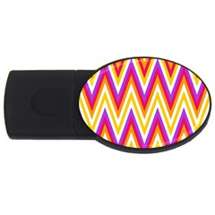 Colorful Chevrons Zigzag Pattern Seamless Usb Flash Drive Oval (4 Gb)