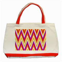 Colorful Chevrons Zigzag Pattern Seamless Classic Tote Bag (Red)