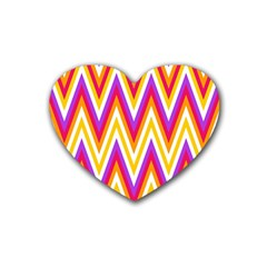 Colorful Chevrons Zigzag Pattern Seamless Rubber Coaster (heart)