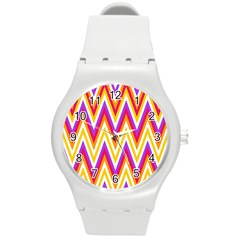 Colorful Chevrons Zigzag Pattern Seamless Round Plastic Sport Watch (M)
