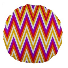 Colorful Chevrons Zigzag Pattern Seamless Large 18  Premium Round Cushions