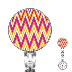 Colorful Chevrons Zigzag Pattern Seamless Stainless Steel Nurses Watch