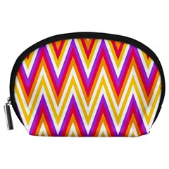 Colorful Chevrons Zigzag Pattern Seamless Accessory Pouches (Large)