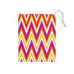Colorful Chevrons Zigzag Pattern Seamless Drawstring Pouches (Medium)