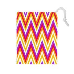 Colorful Chevrons Zigzag Pattern Seamless Drawstring Pouches (Large)