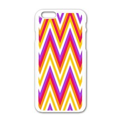 Colorful Chevrons Zigzag Pattern Seamless Apple iPhone 6/6S White Enamel Case
