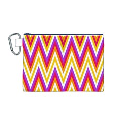 Colorful Chevrons Zigzag Pattern Seamless Canvas Cosmetic Bag (m)
